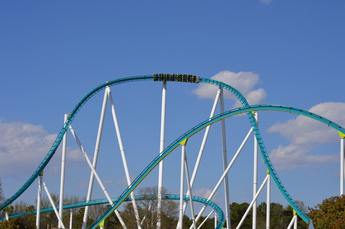 A Carowinds roller coaster on the track.