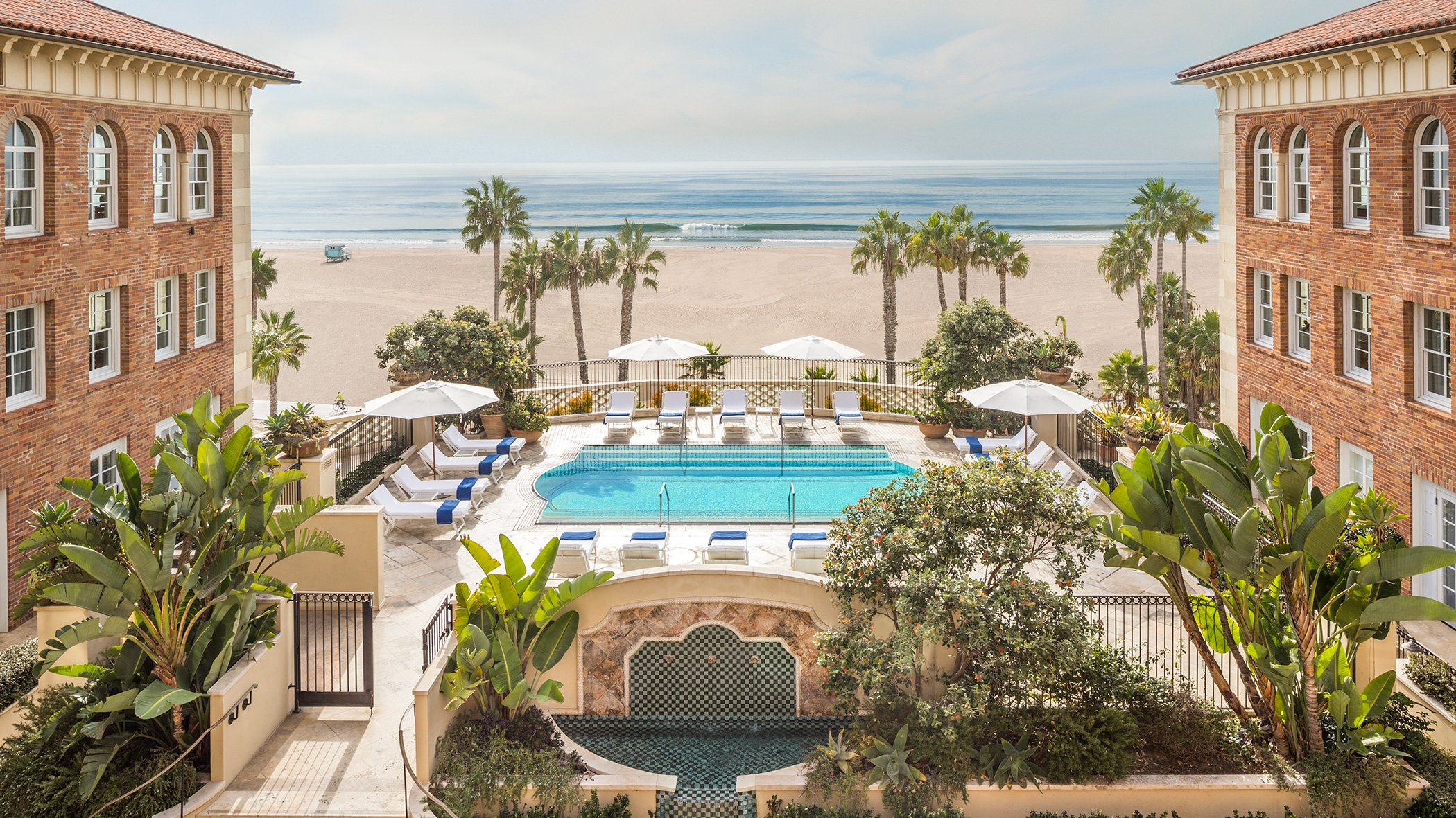 View over the pool to the beach at Hotel Casa Del Mar in Santa Monica.