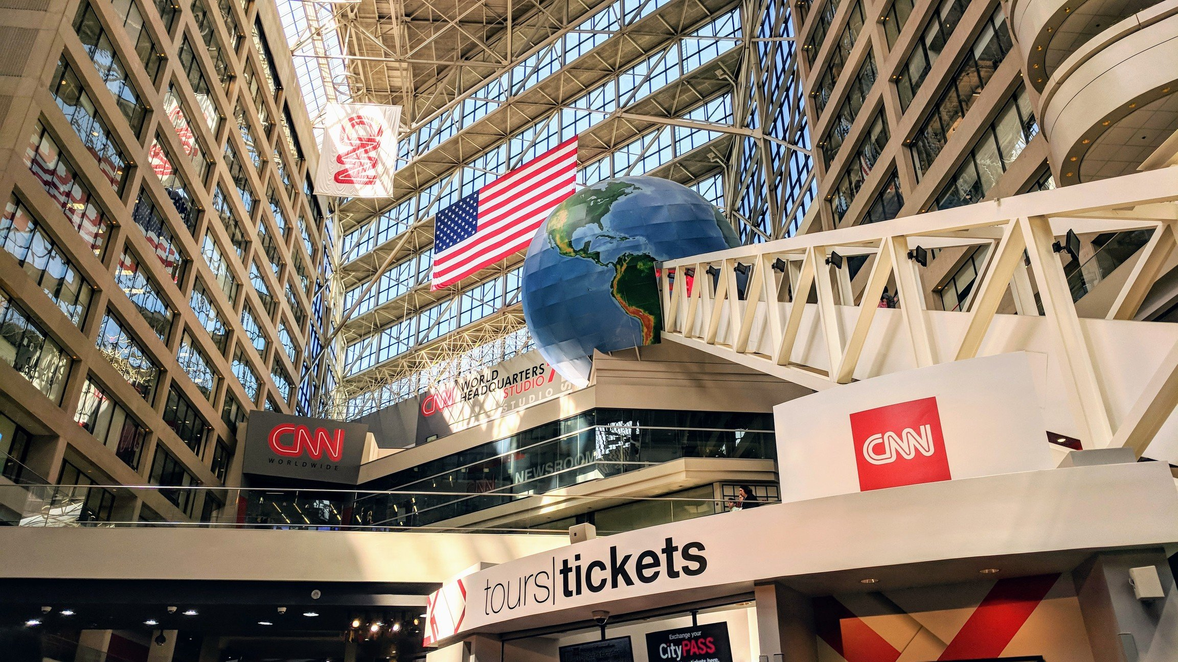 Building interior and ticket booth at CNN World Headquarters.