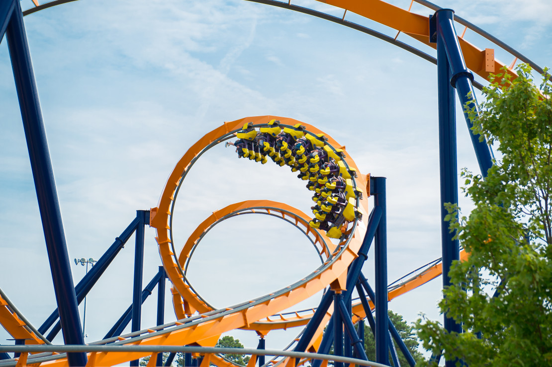 An inverted turn on a King's Dominion roller coaster.