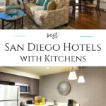 Find San Diego hotels with kitchens and kitchenettes in various locations and budgets including what utensils and appliances they have to make food prep easy on your vacation.